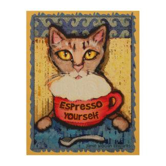 Abyssinian Cat Drinking Espresso Wood Wall Art Wood Prints