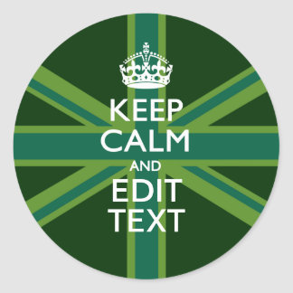 Accent Green Keep Calm And Your Text Union Jack Round Sticker