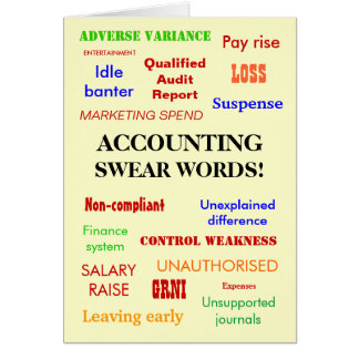Accounting Swear Words! Good Luck Greeting Card