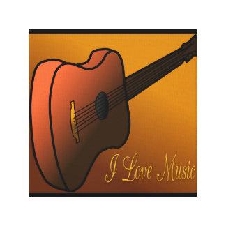 Acoustic Guitar Design Digital Art I Love Music Stretched Canvas Print