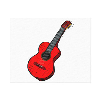 acoustic guitar graphic simple red.png gallery wrapped canvas