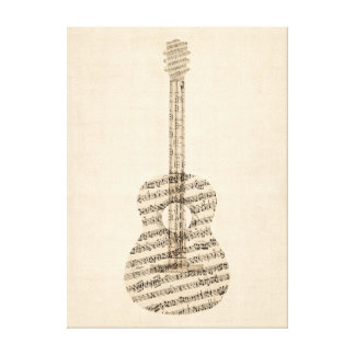 Acoustic Guitar Old Sheet Music Stretched Canvas Print