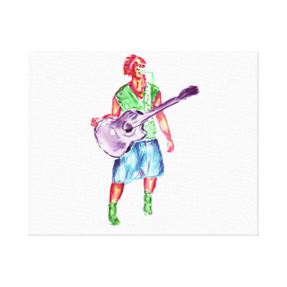 acoustic guitar player female singer musician gallery wrapped canvas