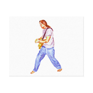 acoustic guitar player jeans feet apart gallery wrap canvas