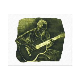 acoustic guitar player sit yellow invert stretched canvas print