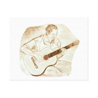 acoustic guitar player sitting pencil sketch sepia canvas print