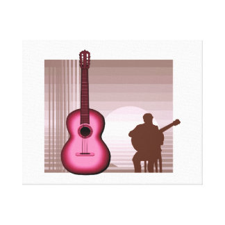 acoustic guitar player sitting pink.png gallery wrap canvas