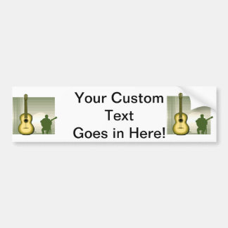 acoustic guitar player sitting yellow.png bumper sticker