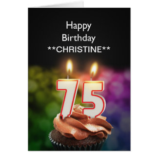Add a name, 75th birthday card