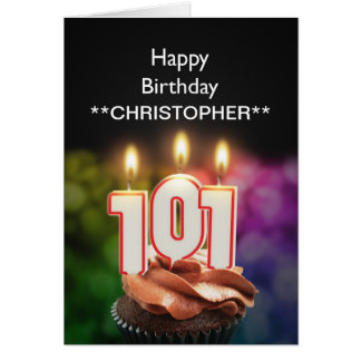 Add a name to this 101st birthday card candles