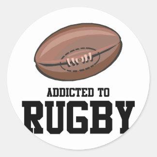 Addicted To Rugby Round Sticker