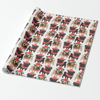 Adorable Black and Fawn Christmas Pugs Wrapping Paper