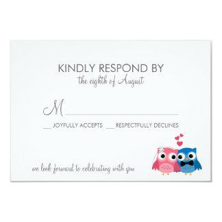 Adorable Bride and Groom Owls Wedding RSVP Card 9 Cm X 13 Cm Invitation Card