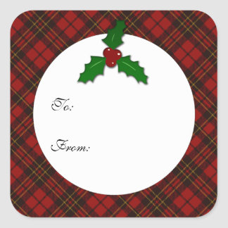 Adorable Red Christmas tartan Holly twig Gift Tag Square Sticker