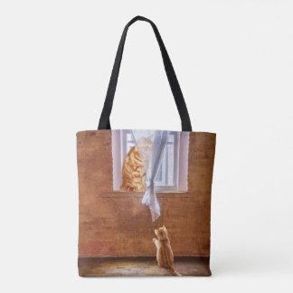 Adult orange tabby and kitten tote bag