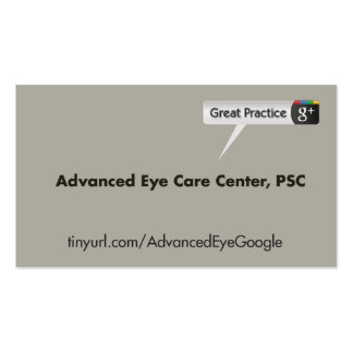Advanced Eye Care Center Pack Of Standard Business Cards