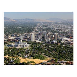 Aerial view of downtown Salt Lake City, Utah Postcard