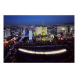 Aerial view of the Las Vegas Strip at night Poster