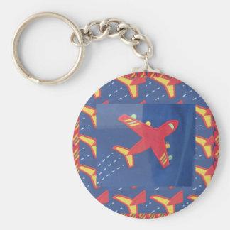 Aeroplane Aircraft Flight Travel Picnic Holidays Basic Round Button Key Ring