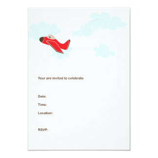 AEROPLANE BIRTHDAY INVITATIONS - RED