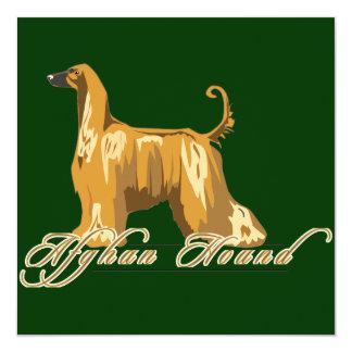 Afghan Hound, Detailed, Gold 13 Cm X 13 Cm Square Invitation Card
