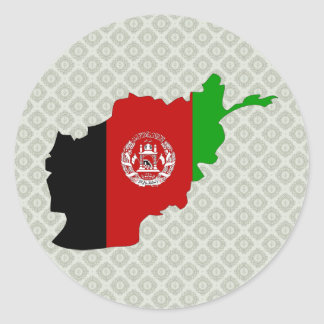 Afghanistan Flag Map full size Round Sticker