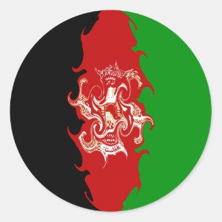 Afghanistan Gnarly Flag Round Sticker
