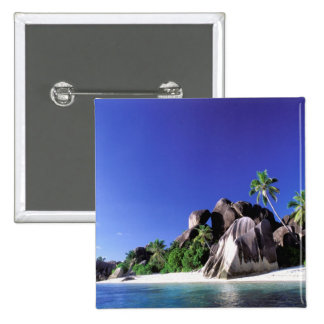 Africa, Seychelles, La Digue Island. Granite 3 15 Cm Square Badge