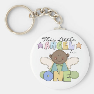 African American Angel 1st Birthday Tshirts Basic Round Button Key Ring