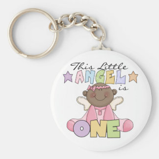 African American Girl Angel 1st Birthday Basic Round Button Key Ring