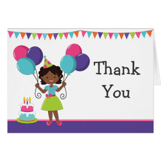 African American Girl Birthday Party Thank You Note Card