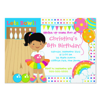 African American Girl Bowling Birthday Party 13 Cm X 18 Cm Invitation Card