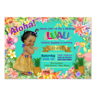 African American Girl Hawaiian Luau Birthday Party 13 Cm X 18 Cm Invitation Card