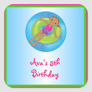 African American Girl Pool Birthday Party Labels Square Sticker