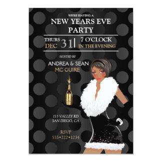 African American New Years Eve Fashion Girl 13 Cm X 18 Cm Invitation Card