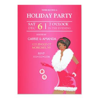 African American Sexy Pink Christmas Fashion Girl 13 Cm X 18 Cm Invitation Card
