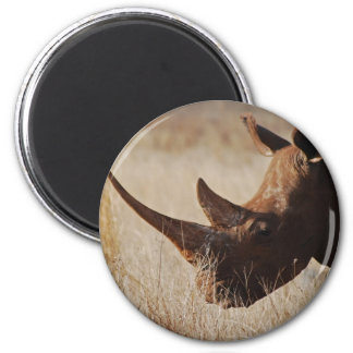 African black rhino with big horns 6 cm round magnet