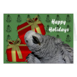 African Grey Parrot Christmas Holiday Greeting Card