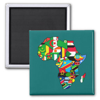 African Map of Africa flags within country maps Square Magnet