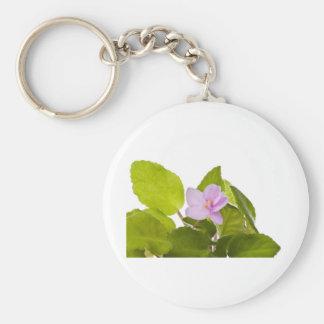 african violet - saintpaulia ionantha basic round button key ring