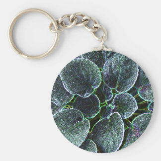 African Violet With Glowing Edges Basic Round Button Key Ring