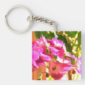 African violets Single-Sided square acrylic key ring