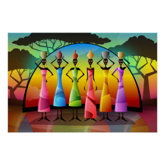 African Women With Vessels Poster