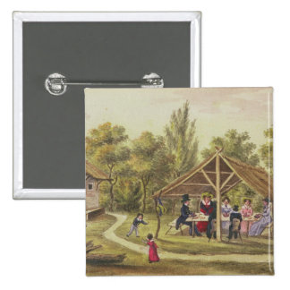 Afternoon tea at a tavern from the journal of 15 cm square badge