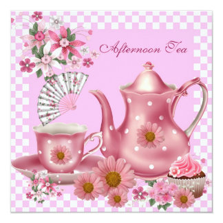 Afternoon Tea Cupcake Pink Floral Teapot Fan 13 Cm X 13 Cm Square Invitation Card