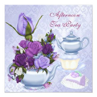 Afternoon Tea Party Purple Floral Teapot 13 Cm X 13 Cm Square Invitation Card