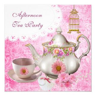 Afternoon Tea Party Vintage Pink Floral Teapot 13 Cm X 13 Cm Square Invitation Card