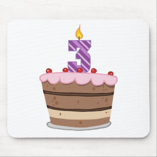 Age 3 on Birthday Cake Mouse Pad