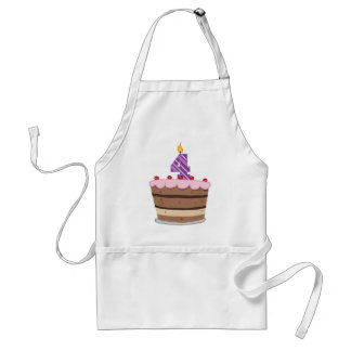 Age 4 on Birthday Cake Standard Apron