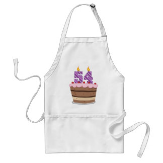 Age 54 on Birthday Cake Standard Apron